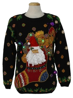 1990's Unisex Multicolor Lightup Hand Embellished Ugly Christmas Vintage Sweater