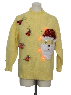 1980's Unisex Red Lightup Hand Embellished Ugly Christmas Vintage Sweater
