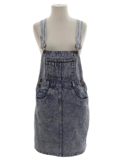 1980's Womens Totally 80s Acid Washed Jeans Denim Overalls Mini Skirt