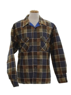 1970's Mens Plaid Flannel Sport Shirt Jacket