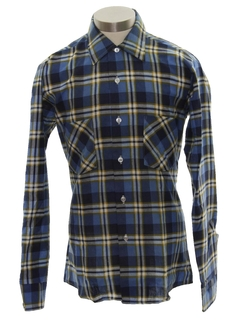 1960's Mens Plaid Flannel Shirt