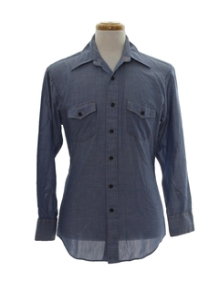 1970's Mens Hippie Chambray Work Shirt