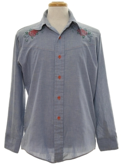 1970's Mens Hippie Western Embroidered Chambrey Shirt