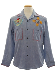 1970's Mens Hippie Embroidered Chambrey Shirt