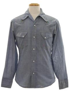 1970's Mens Western Hippie Chambrey Shirt