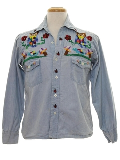 1970's Unisex Hippie Embroidered Chambrey Shirt