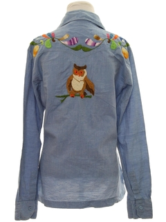 1970's Womens Hippie Embroidered Chambray Shirt