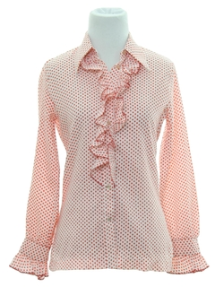 1970's Womens or Girls Ruffled Secretary Shirt