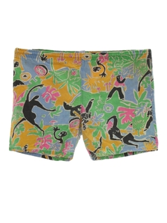 1980's Mens Totally 80s Print Shorts