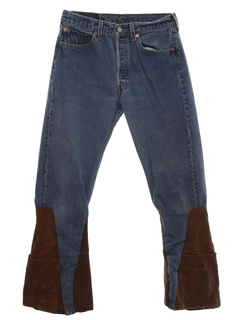 1970's Mens Levis 501 Bellbottom Leather Jeans Pants