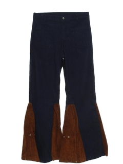 1970's Mens Elephant Bellbottom Suede Leather Jeans Pants