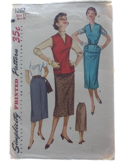 1980's Womens Skirt & Blouse Pattern