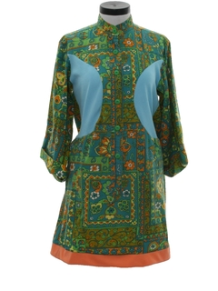 1960's Womens Knit Hippie Dress