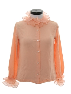1970's Womens Ruffled Shirt