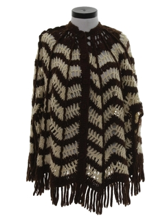 1960's Womens Knit Sweater Poncho Cape