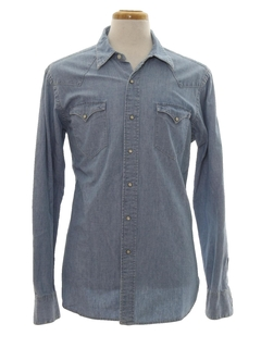 1980's Mens Western Chambray Shirt