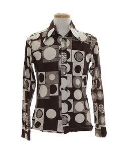 1970's Mens Op Art Print Disco Shirt