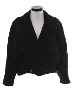 1980's Womens Totally 80s Suede Leather Fringe Jacket