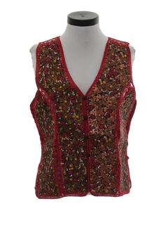 1980's Womens Suede Leather Hippie Vest