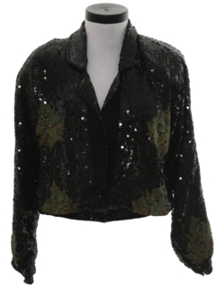 1980's Womens Totally 80s Sequined Cocktail Coat Jacket