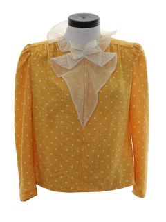 1980's Womens Totally 80s Ruffled Secreteary Shirt