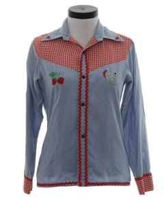 1970's Womens Mod Chambray Western Hippie Shirt