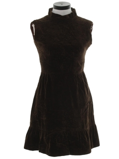 1960's Womens Mod Velvet Dress
