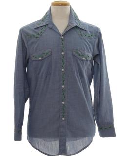 1970's Unisex Chambray Hippie Western Shirt
