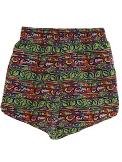 1980's Womens Totally 80s Baggy Print Shorts
