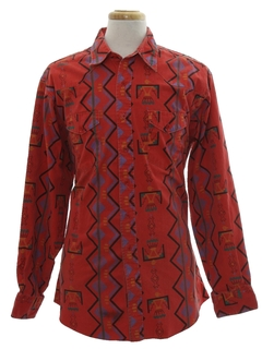 1980's Mens Geometric Western Shirt