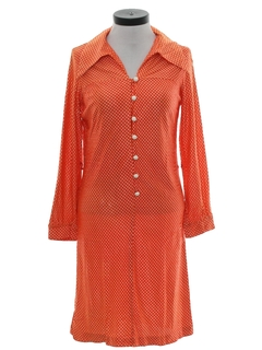 1970's Womens Mod Sheath Knit Dress