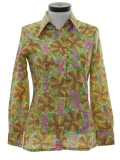 1970's Womens Op Art Mod Print Disco Shirt