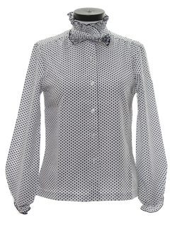 1980's Womens Totally 80s Ruffled Secretary Shirt
