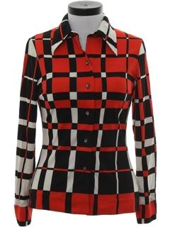 1970's Womens Mod Print Designer Disco Shirt