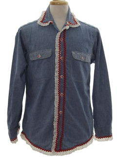 1970's Mens Hippie Chambray Shirt