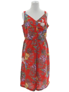 1980's Womens Totally 80s Hawaiian Short Jumpsuit