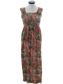 1970's Womens Maxi Hippie Sun Dress