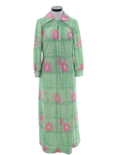 1970's Womens Maxi Hawaiian Inspired Lounge Dress