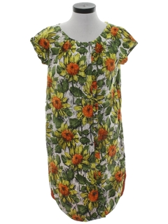 1970's Womens Mod Hawaiian Shift Dress