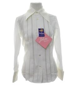 1960's Womens Mod Pleated Tuxedo Shirt