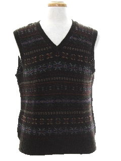 1990's Mens Wool Snowflake Sweater Vest