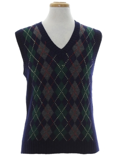 1980's Mens Argyle Wool Golf Sweater Vest