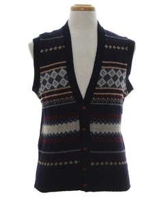 1980's Mens Totally 80s Wool Sweater Vest