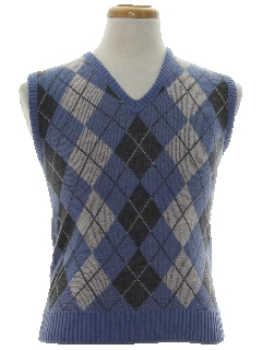 1980's Mens/Boys Mod Argyle Sweater Vest