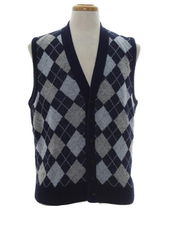 1960's Mens Mod Argyle Sweater Vest