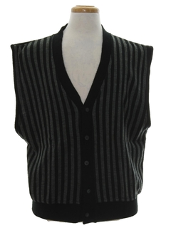 1980's Mens Totally 80s Wool Cosby Style Sweater Vest
