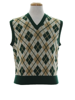 1960's Mens Argyle Mod Sweater Vest