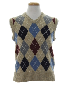1980's Mens Argyle Totally 80s Sweater Vest