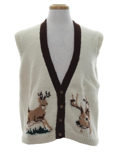 1960's Mens Mod Reindeer Sweater Vest
