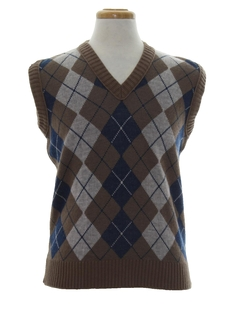 1980's Mens Totally 80s Argyle Sweater Vest